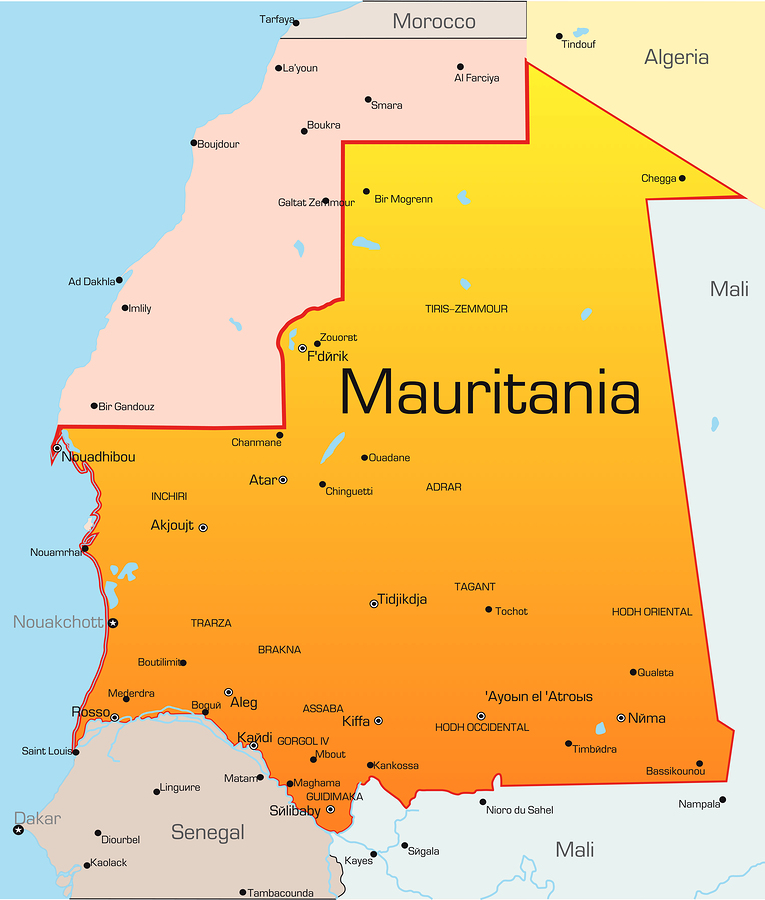 Travel Warning Map of Mauritania