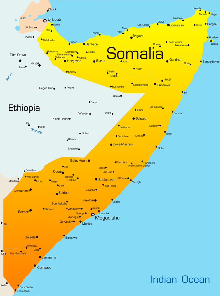 Travel insurance map of Somalia